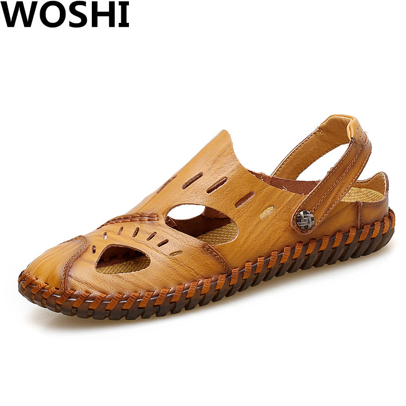Summer outdoor beach slippers Fashion genuine Leather Sandals men Flats Shoes Breathable soft Casual Sandals big size 38-47 w2