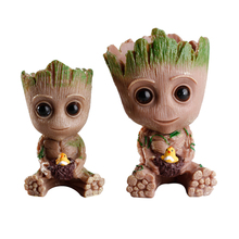 Cute Home Decoration Flowerpot Action Figures Imitated Groot Model Toy Pen Pot Resin Hero Creative Plant Craft Figurine Gift
