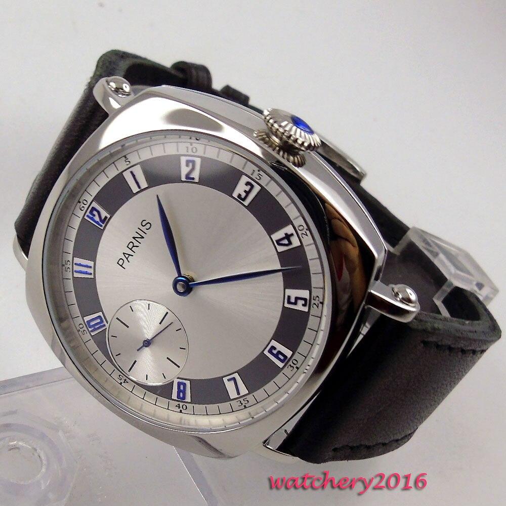 44mm Parnis cadran blanc boîtier poli bracelet en cuir bleu mains 17 bijoux 6497 mouvement main vent mécanique montre pour hommes
