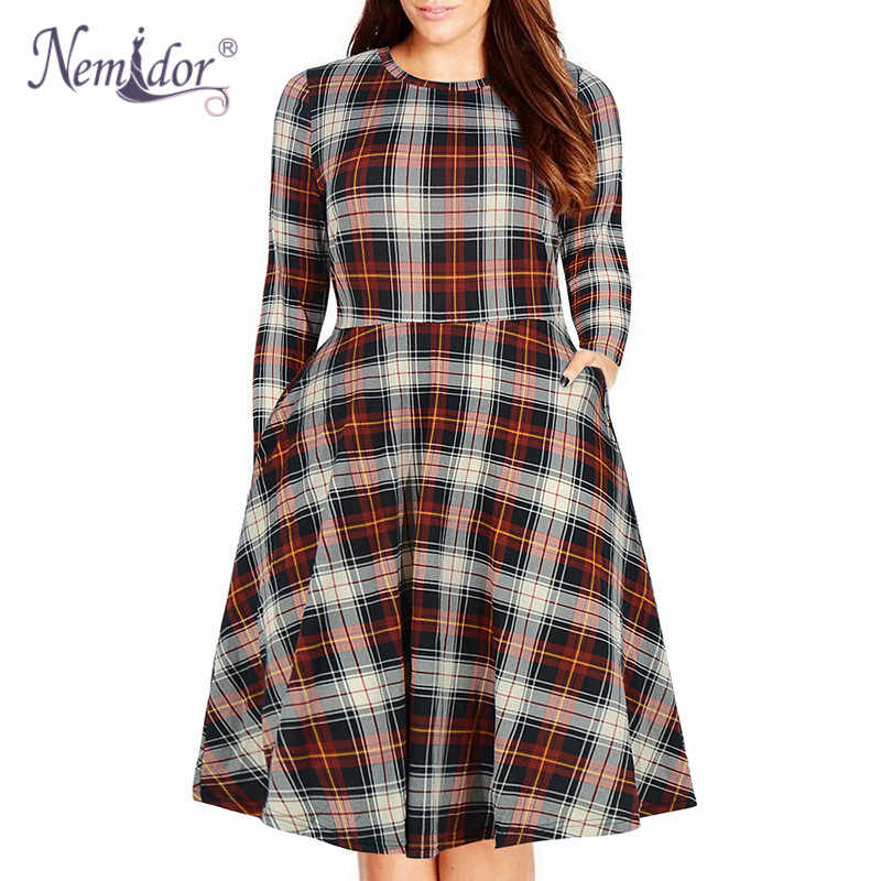 Nemidor Women Casual O-neck Short Sleeve 50s Party A-line Dress Vintage  Print 25a56b14d18e