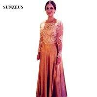 Золото Мать невесты платье с длинными рукавами элегантные женские вечерние платья аппликации для женщин официальная одежда Madrinha Vestido