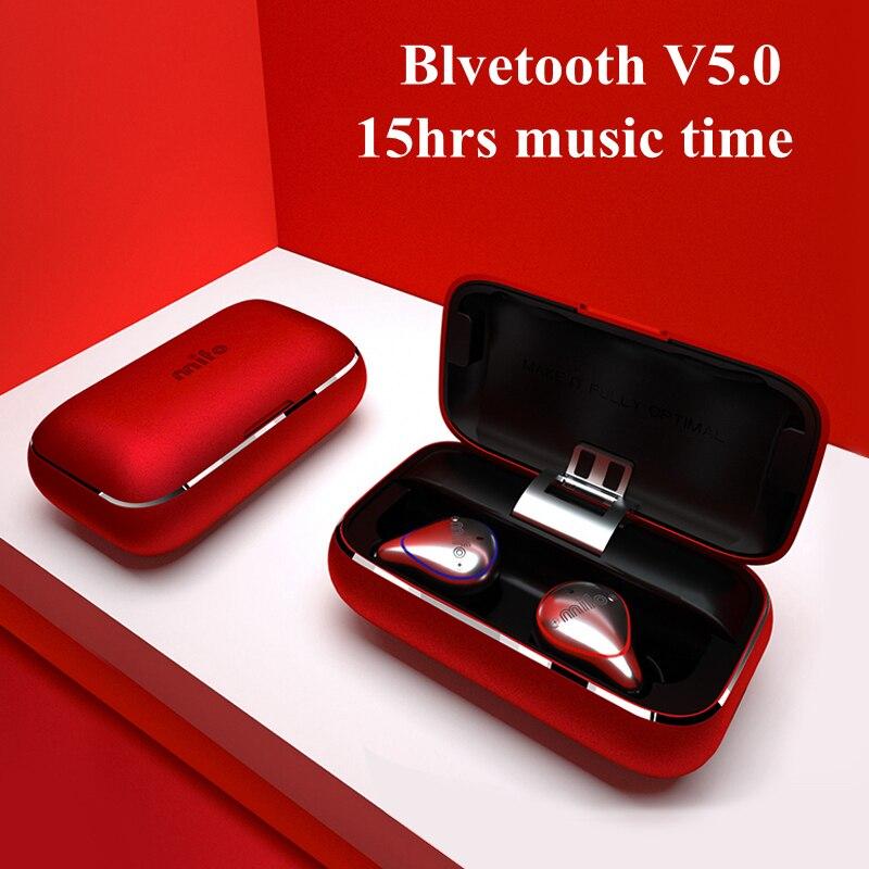 TWS Auricolari Senza Fili IPX7 Impermeabile Bluetooth Auricolari Mini Invisibile Stereo Senza Fili del Trasduttore Auricolare con Microfono Chiamate in Vivavoce
