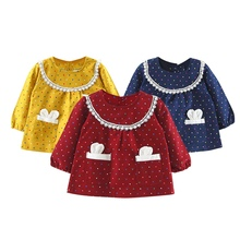 Long-Sleeved Rabbit Cartoon Girls Dress Spring Cotton Pocket Baby Clothing Girl Dress Casual Comfort Children Clothing Dress