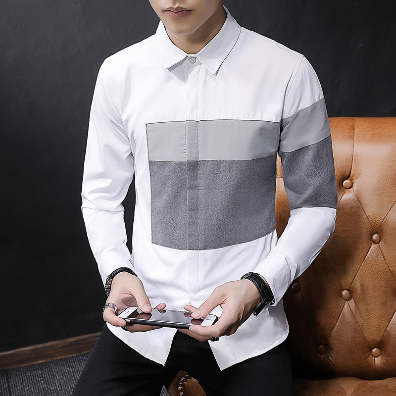 2018 Spring New Men's Long Sleeved Shirt Fashion And Leisure C212-P35-8880 Teenager