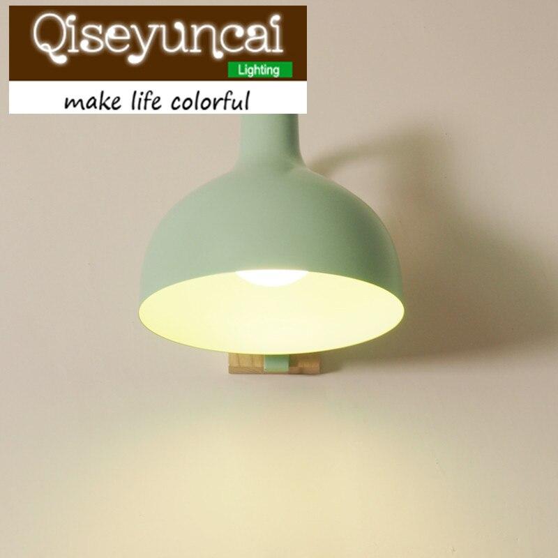 Qiseyuncai E27 moderní obývací pokoj ložnice noční stolek barva masivní dřevo nástěnné svítidlo restaurace ulička železné led nástěnné svítidlo