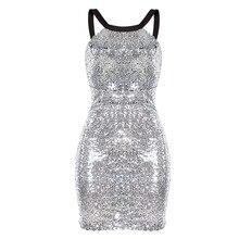 OMILKA 2017 Women Sleeveless Backless Sequin Bodycon Dress Sexy Silver Gold Shiny Patchwork Club Party Sequin Vestidos De Festa