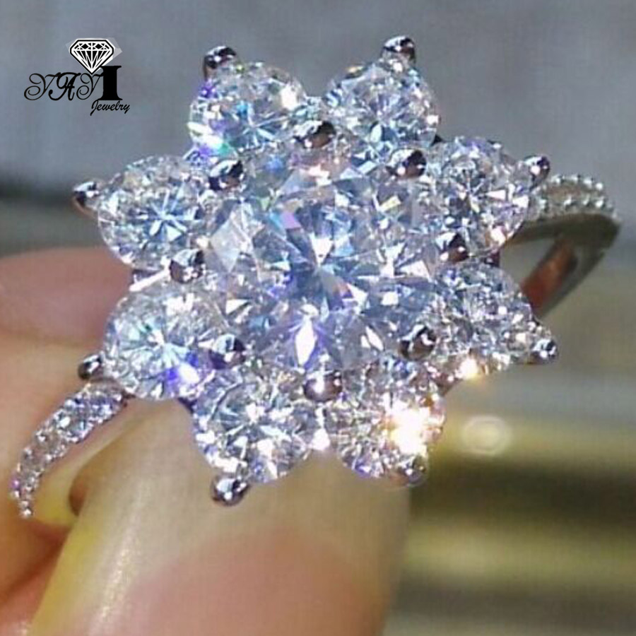 Engagement-Rings Zircon Yayi Jewelry Wedding Heart Silver-Color White Princess Fashion title=