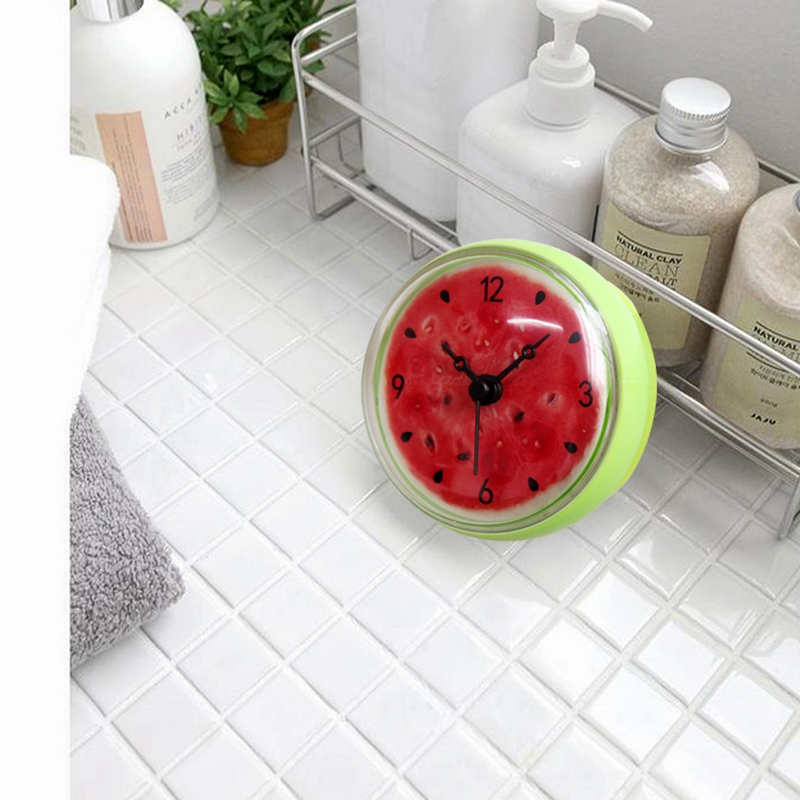 Bathroom Kitchen Waterproof Shower Wall mini watermel Clock Watch Suction Cup Battery Operated Living Room Modern Fashion Design