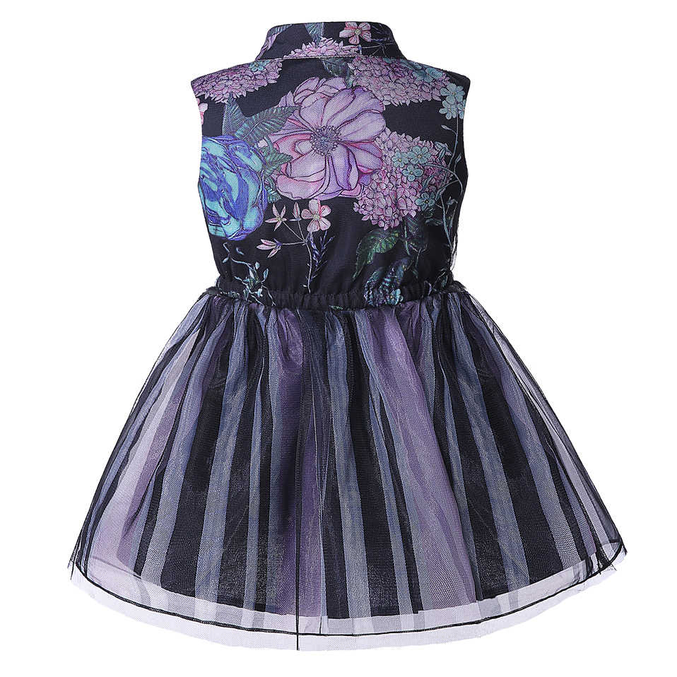 Cutestyles Summer Girl Party Dress Sleeveless Floral Print Tulle Formal Dresses 3-8Y Kids Everyday Wear Clothes G-DMGD004-B4