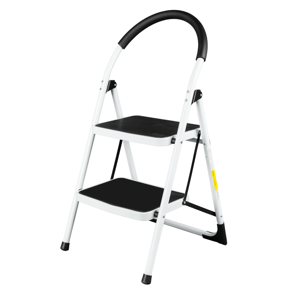 Safety Ladder Folding Stool Heavy Duty Industrial Lightweight 2-Step Ladder Anti-Slip Sturdy Wide Pedal Ladder White - US Stock