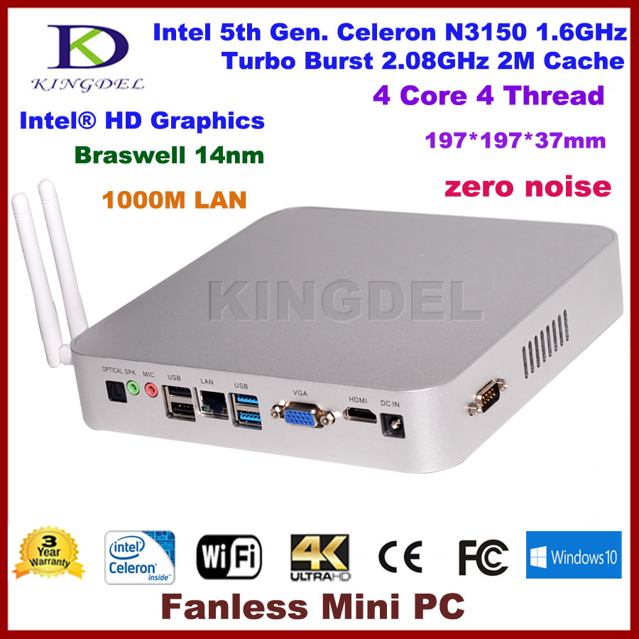 Kingdel New Braswell 5th Gen 14nm Intel Celeron N3150 Quad Core Fanless Mini Industrial Desktop PC