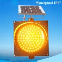 Led Solar Waterproof IP67 Yellow Flashing Lights Traffic Lights Flash Municipal Yellow Flashing Lights Traffic Warning Lights