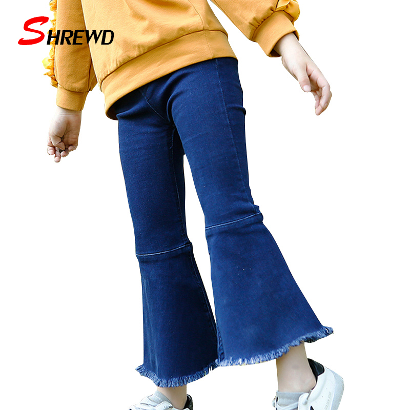 ФОТО Toddler Girl Leggings 2017 New Spring Casual Simple Solid Pants Jeans For Kids Elastic Waist Bell-bottoms Kids Clothes 4745W