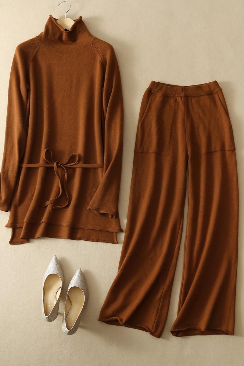 JECH2019Women pull costume tricot ensemble Outwear deux pièces ensemble survêtement femme décontracté tricoté pantalon + Jumper hauts vêtements ensemble