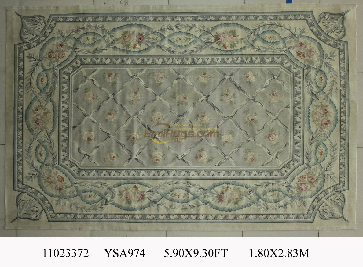 wool carpet french aubusson rugs 180cmx284cm 59u0027x 93u0027 pink large side black - Aubusson Rugs