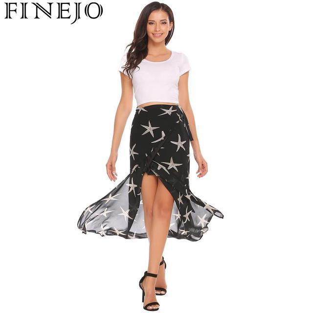 FINEJO Boho Summer Beach Skirt Women Star Print Wrap Tie Long High Waist Slim Sexy