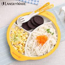 LANSKYWARE Cute Kids Tableware Set Eco-Friendly Bamboo Cartoon Dinnerware With Cutlery Children Dinner Kitchen Accessories