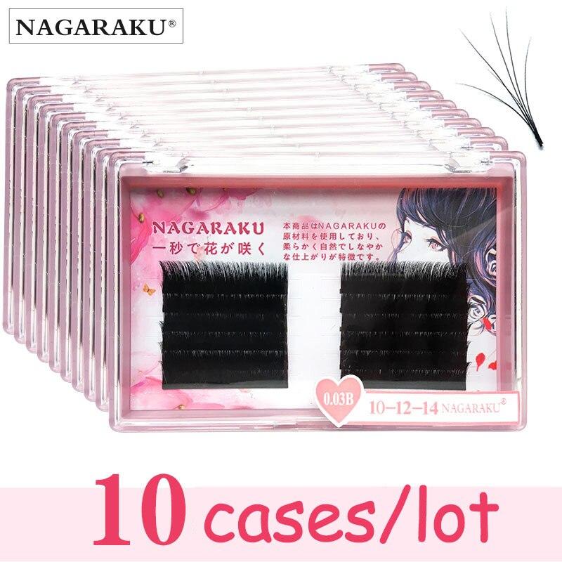 NAGARAKU 10cases new autofans eyelash easy fanning  lashes autofloracion fan Russian volume two tone lashes make up cilia-in False Eyelashes from Beauty & Health    1