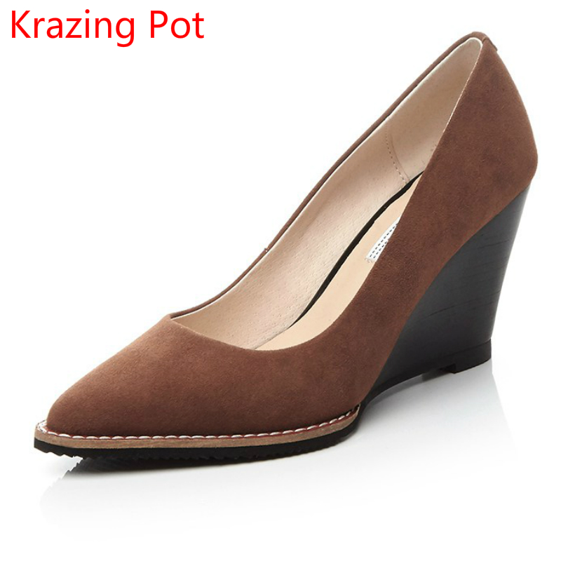 2017 Fashion Kid Suede Brand Shoes Super High Heels Women Pumps Pointed Toe Shallow Party Career Slip on Women Wedding Shoes L46 high quality women shoes colorful rhinestone shallow mouth high heels mature women pumps round toe slip on party wedding shoes