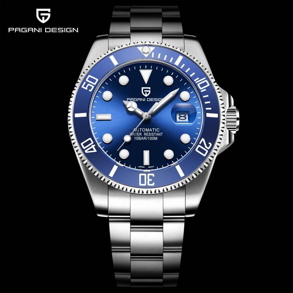 パガーニデザインブランドの高級メンズ腕時計自動ブラック腕時計メンズステンレス鋼防水ビジネススポーツメカニカル