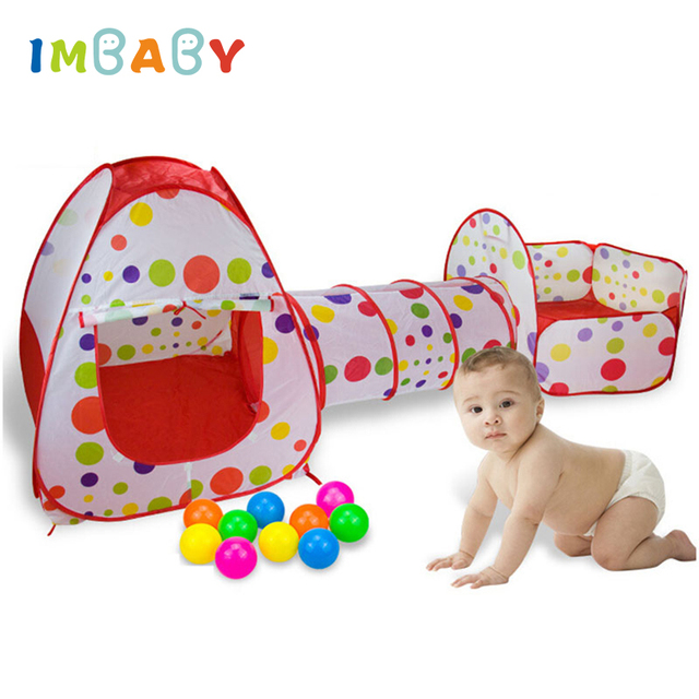 IMBABY 3 In 1 Baby Playpen Portable Baby Play Tent Kids Ocean Balls Pool Foldable Play Tent Playpen Tunnel Play House Play Yard