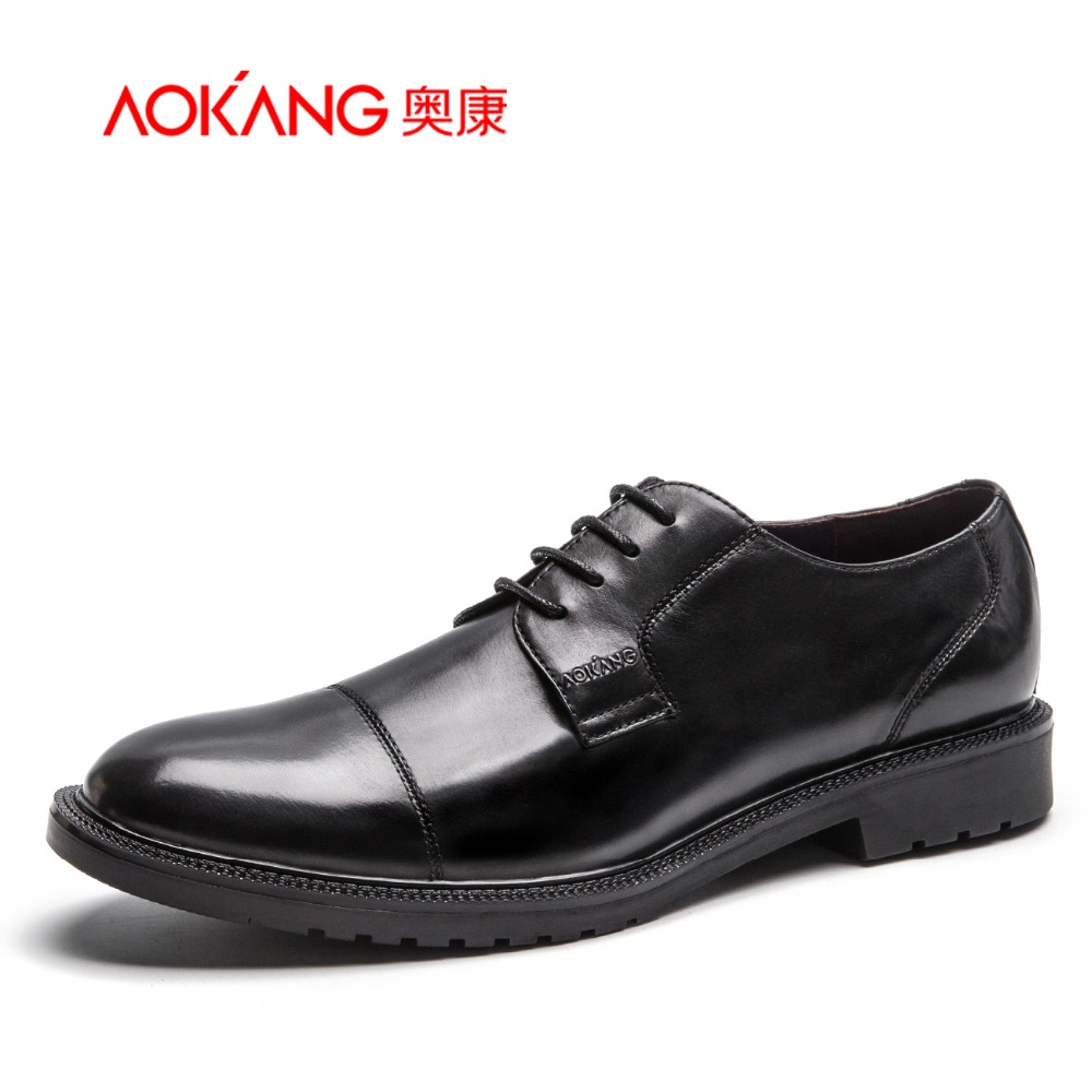 Aokang 2016 Winter New designer Men's Genuine leather shoes classical male Dress Shoes Business pointed for men Free shipping
