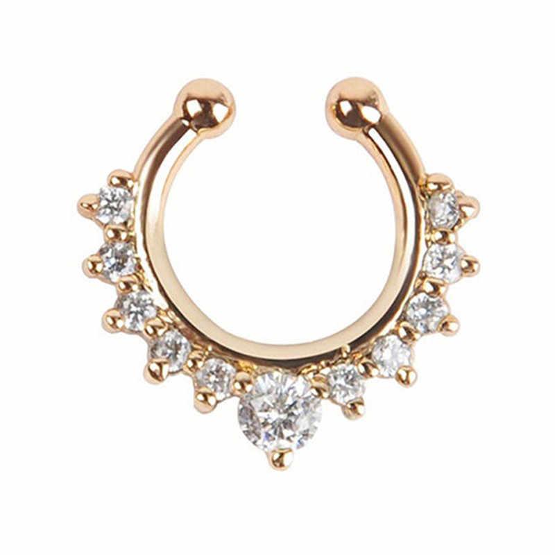 EK165 חדש קריסטל Clicker מזויף מחץ לנשים קליפ חישוק פו פירסינג זהב כסף מצופה גברים ילדה מתנה גוף תכשיטים