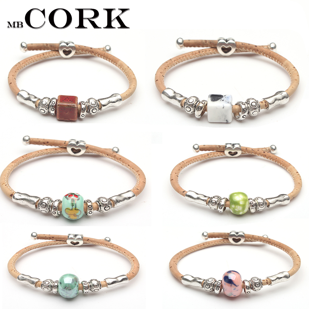 Cork Beads: Natural Cork Colored Ceramic Beads Bracelet Original