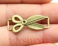 WYSIWYG 4pcs 31*14mm DIY Vintage Antique Bronze Color Scissors Connect Charms