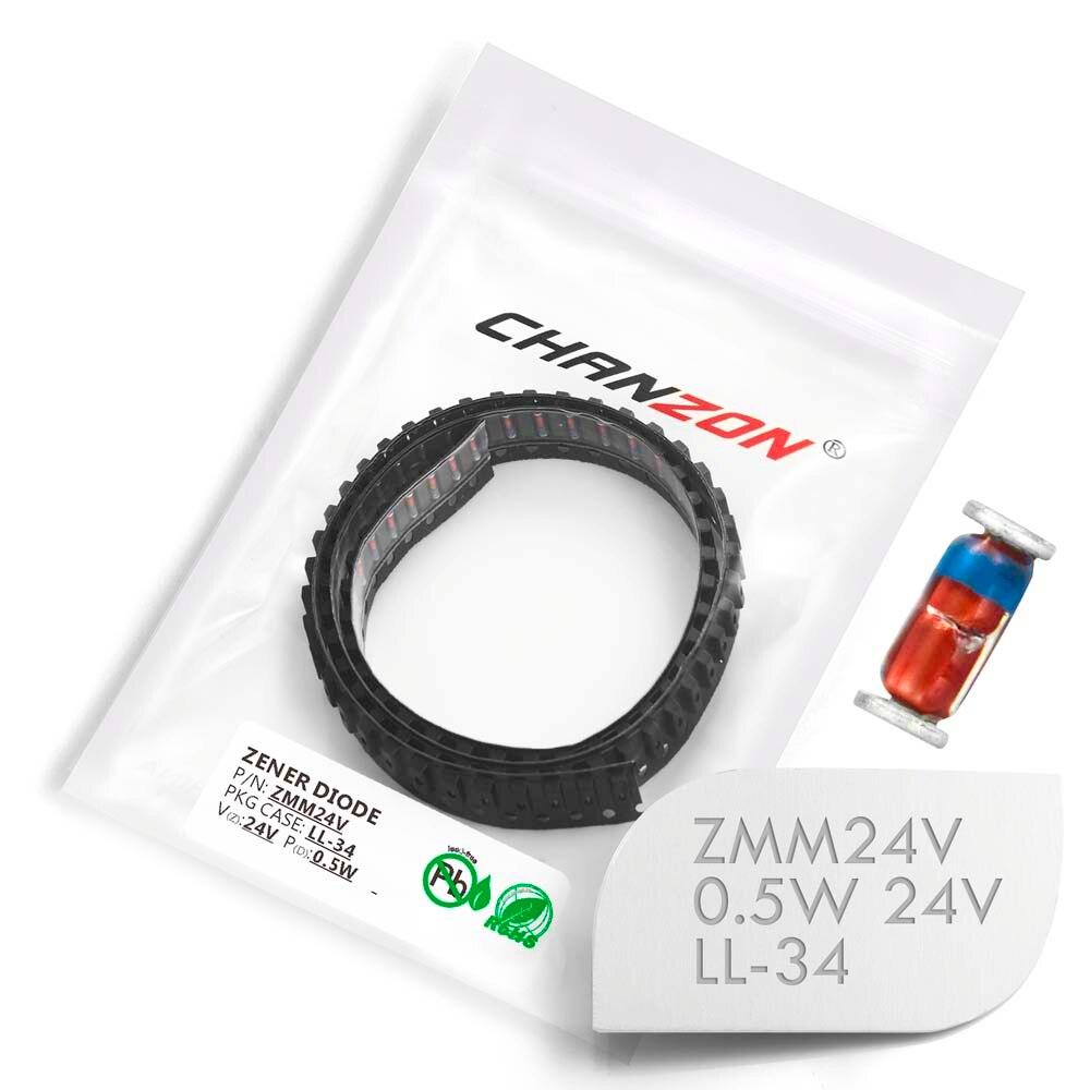 (100/500/2500 Pcs) SMD Zener Diode 0.5W 24V ZMM24V ZMM24 LL-34 (SOD-80 MiniMELF / 1206) 0.5 Watt 24 Volt ZMM 24V