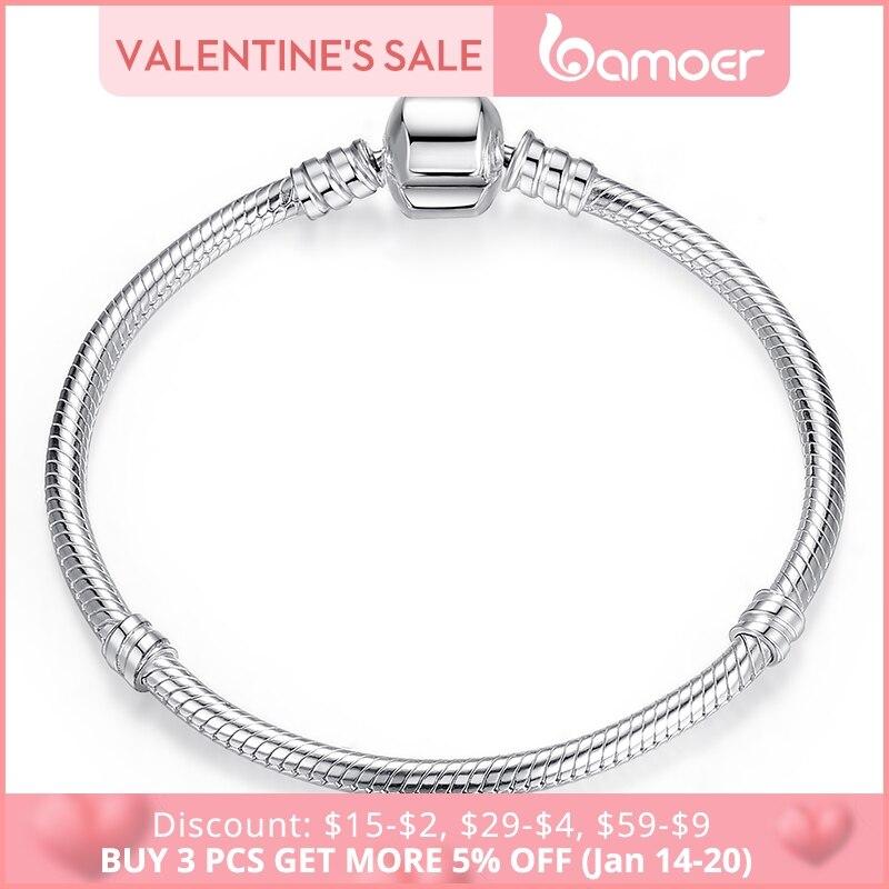 BAMOER De Noël VENTE Authentique 100% 925 Sterling Argent Serpent Chaîne De Bracelet et Bracelet De Luxe Bijoux 17-20 CM PAS902