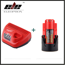 ELEOPTION Power Tool Battery For Milwaukee M12 48-11-2401 2510-20 48-59-1812 12V 1500mAh Li-ion Rechargeable Battery + Charger