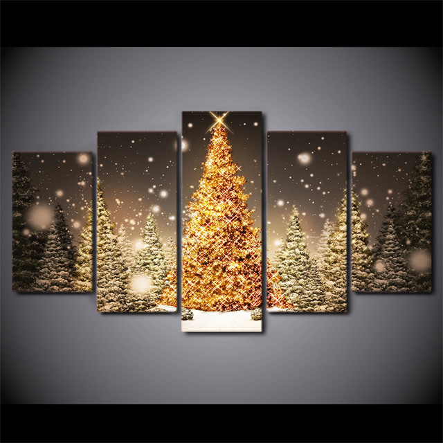 5 Pcs/Set HD Printed Framed Golden Christmas Trees Artworks Home ...