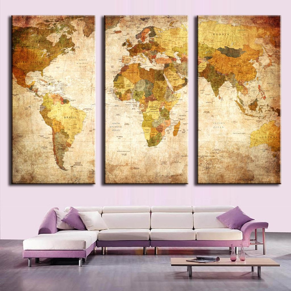 3 Pcs/Set Vintage Painting Canvas Wall Art Picture Classic Map ...