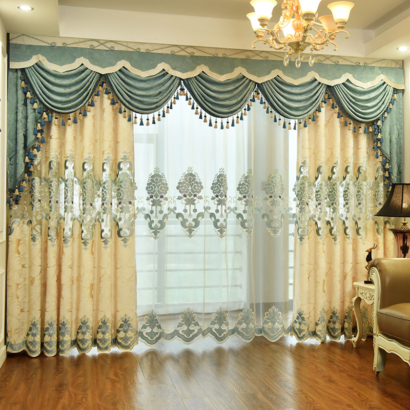 European Chenille Big Leaves Jacquard Bottom Fabric Curtain Cloth Curtains For Living Dining Room Bedroom Valance