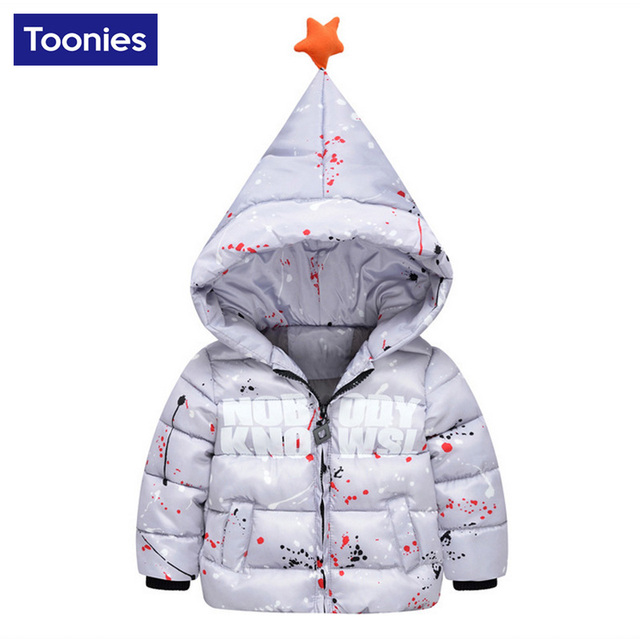 2017 New Arrival Fashion Winter Children's Clothing Boys Coats Outerwear Child Down Letters Printed Parkas Hooded Down for Boys