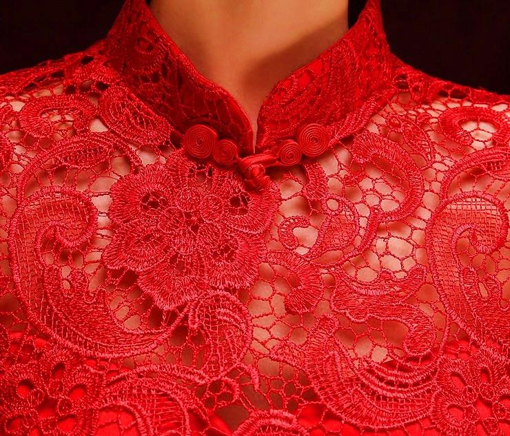 renda tanpa bunga reka bentuk bunga lama pakaian qipao moden seksi - Pakaian kebangsaan - Foto 5
