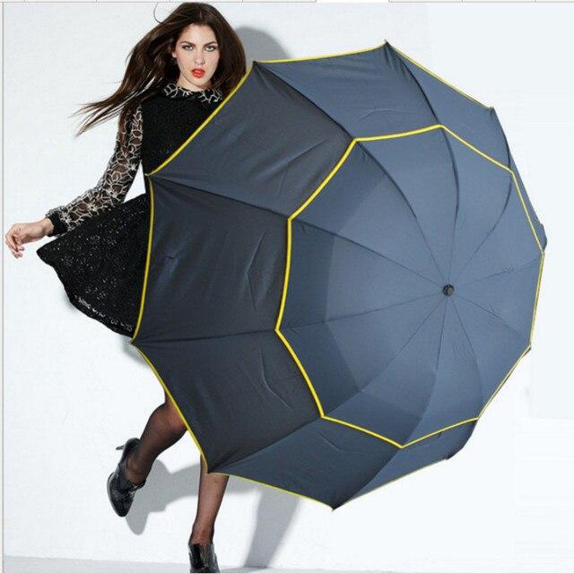 130 cm Grande di Alta Qualità Uomini Ombrello Da Pioggia Donna Antivento Grande