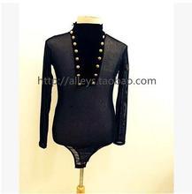 Men's Latin dance costume senior gauze long sleevesds men's latin dance top for men's latin dance competition jacket