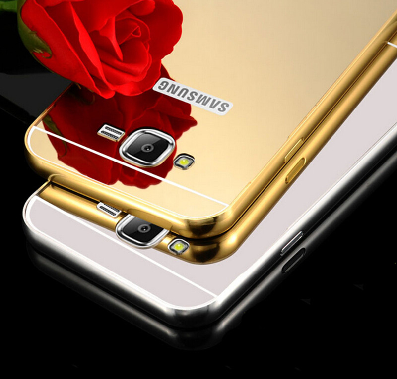 New Luxury Mirror Aluminum Metal Frame Case For Samsung Galaxy A3 A5 A7 J3 J5 J7 S4 S5 S6 S7 Edge Phone Cases