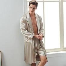 Мужской Атласный халат шелковая пижама с длинными рукавами и