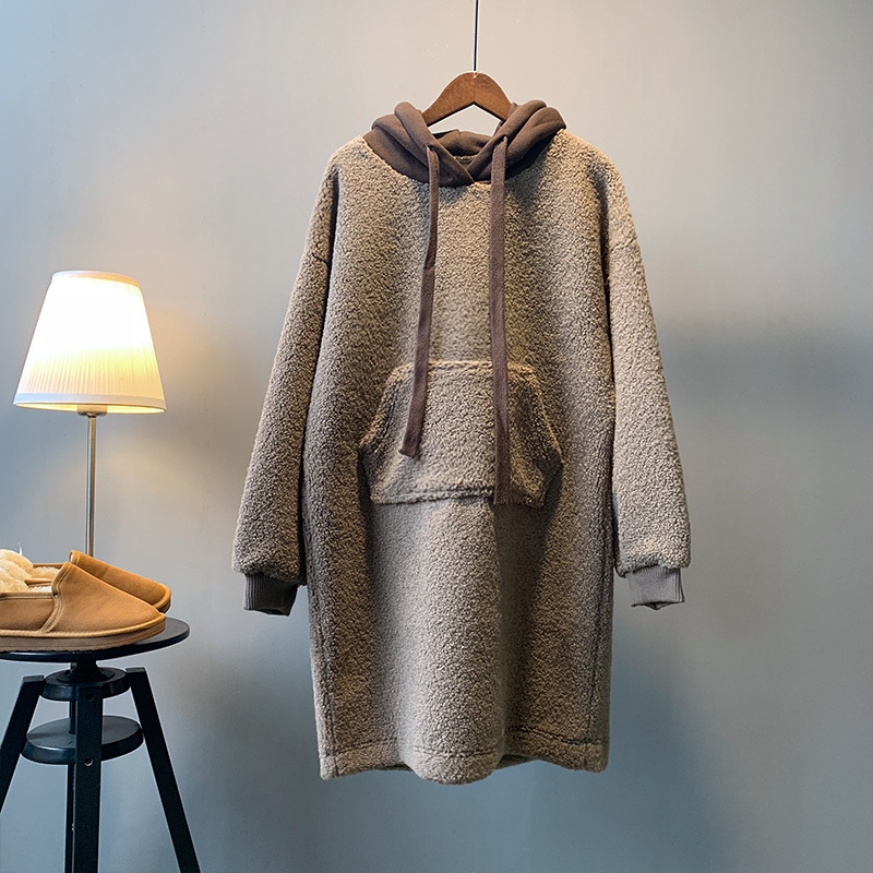 Laine Femmes Nouveau 2018 Épaissie Manteau Hiver Style Avec Agneau Md2b Pull Lâche 510304 Capuche Cerise À Polaire g05XIp