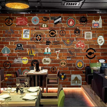 Custom wallpaper nostalgic Europe and America icon brick wall bar KTV mural background high-grade waterproof material