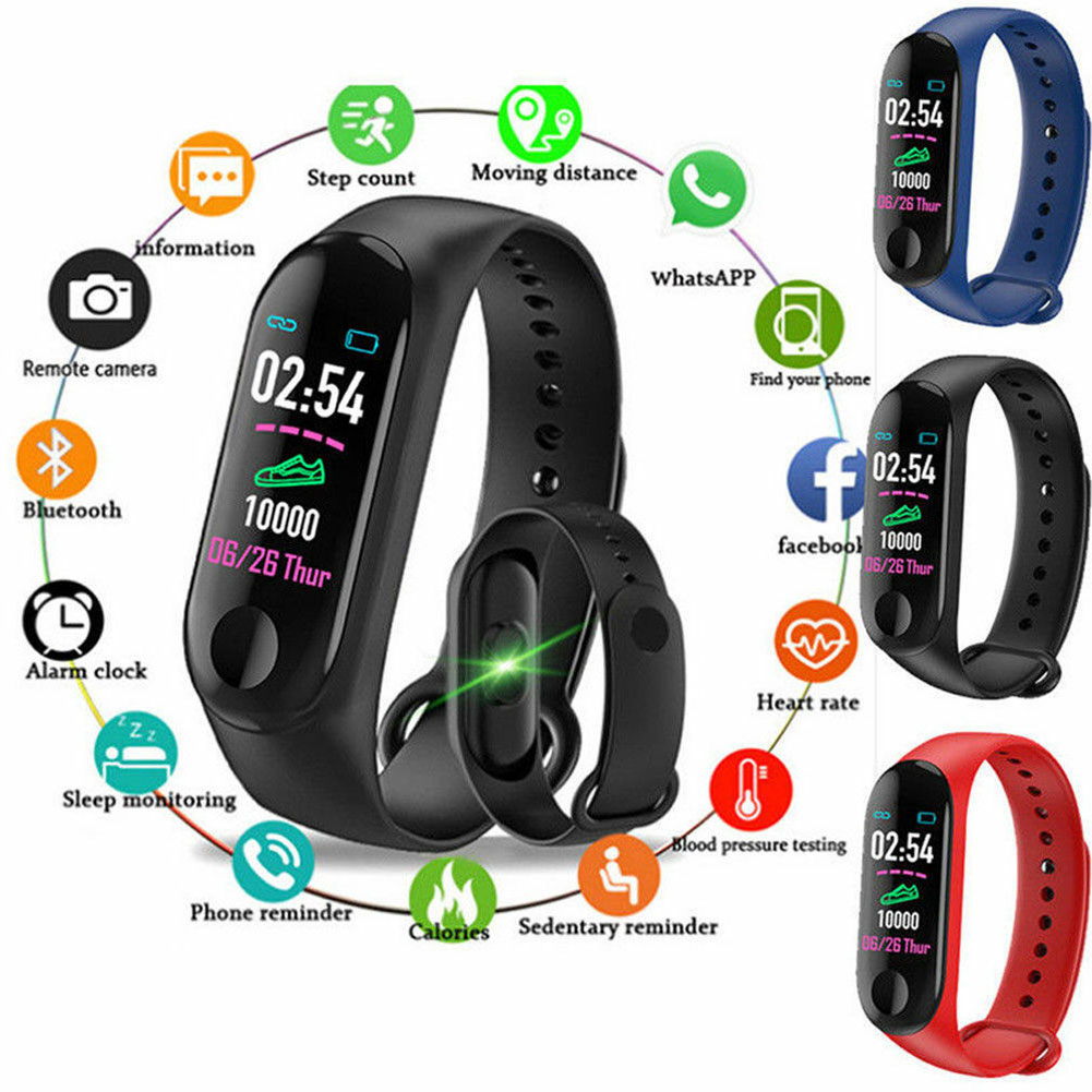 M3 Bluetooth Smart Bracelet Heart Rate Monitor Fitness Tracker Smart Sports Watch Gift Electronic Smart Watch Health Bracele