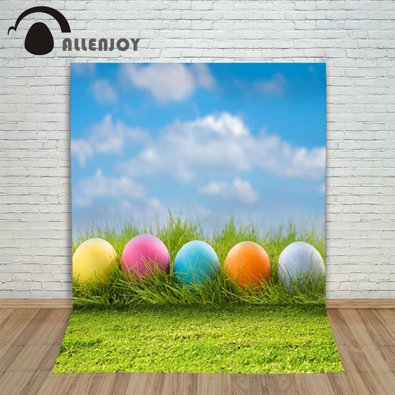 Allenjoy Easter backdrop Happpy eggs colourful sky grass decoration photography photocall for photo studio