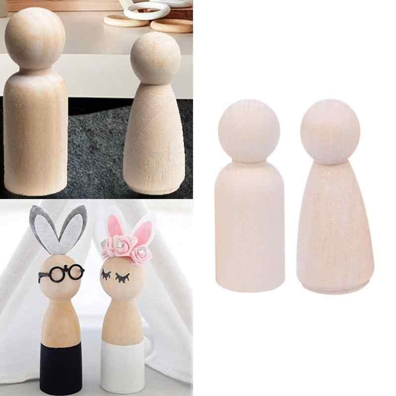 1 個未完木製人形ハンド Diy 無地空白木製ペグ人形ペイント男性木製人形ペグナチュラル女性のため子供のおもちゃ