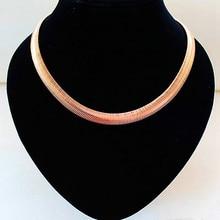 10mm 45cm Women's Snake Chain Necklace Brief Copper Chain Wide Collar Choker Necklaces Bijoux 2017 Fashion Accessories