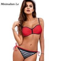 Minimalism Le Bandage Bikini 2018 Solid Patchwork Striped Women Swimwear Vrouwen Push Up Badmode Biquini Bathing