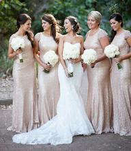 Lace Sequin Bridesmaid Dresses Sexy High Neck Cap Sleeves Wedding Party Dresses Women Formal Bridesmaid Gowns B96