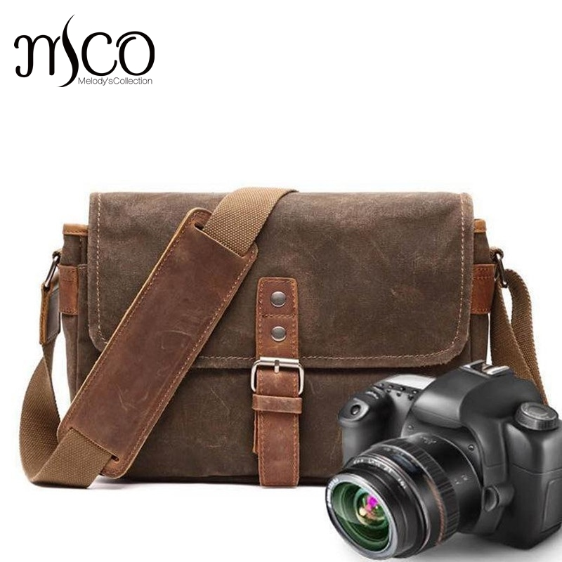 21f433306359 Men Vintage Oil Waxed Canvas Shoulder Bags Shockproof DSLR Camera Bag  Waterproof Canvas messenger for man